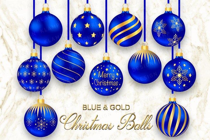 Blue and Gold Christmas Balls Clipart, Christmas Graphics