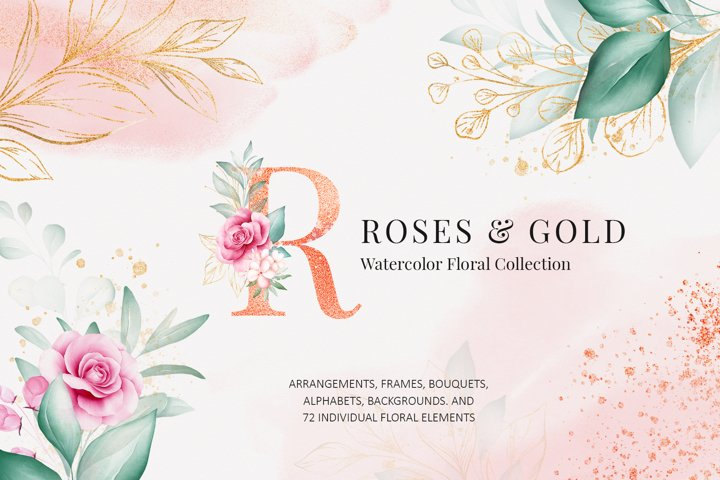 Watercolor Flowers Roses & Gold Clipart Bundle