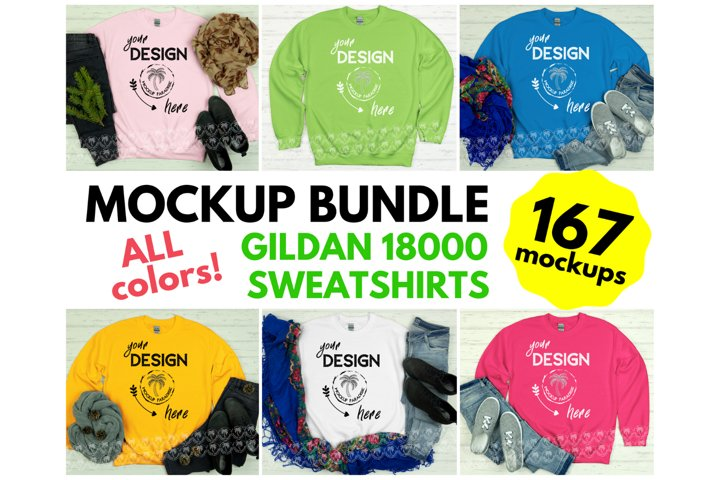 Gildan 18000 Sweatshirt Mockup Bundle - All Colors!