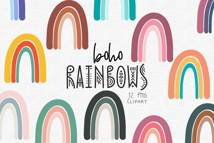 Boho Rainbow Clipart Set