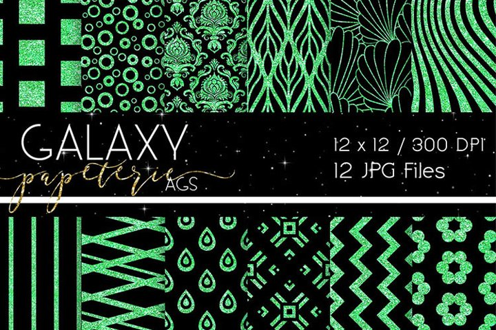 Black and Green Glitter Digital Papers - Patterns