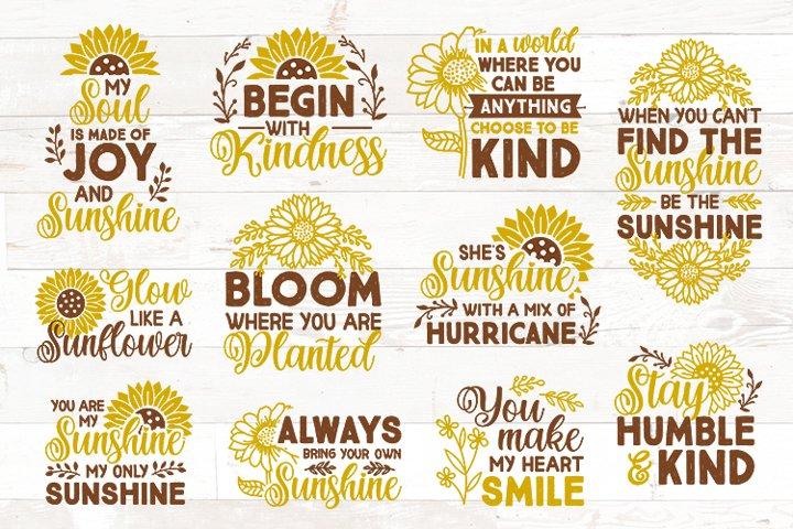 Sunflower SVG bundle sunshine quotes sayings