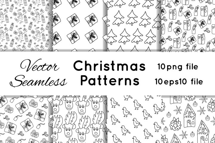 Vector seamless Christamas patterns in the doodle style