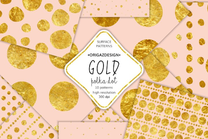 Gold foil Polka dot Blush Pink Seamless Pattern