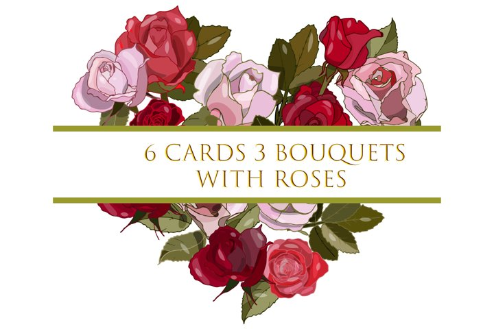 Cards and wreaths with roses.