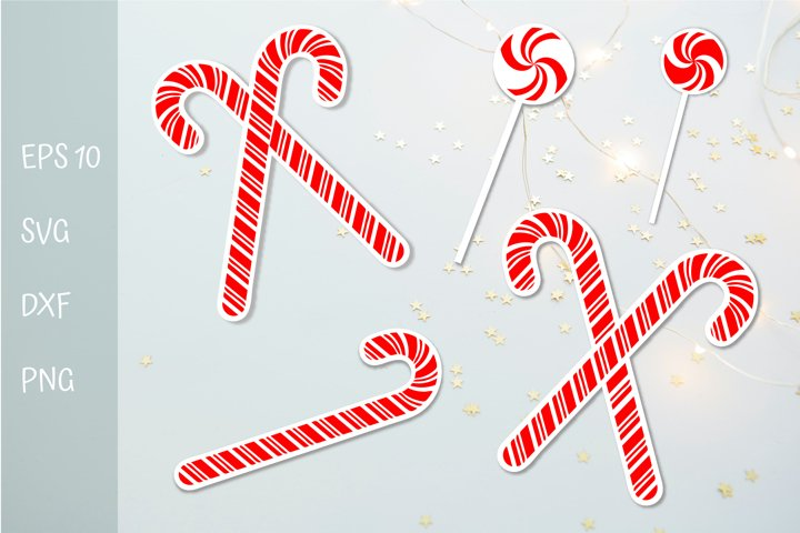 Christmas stickers PNG. Candy cane stickers