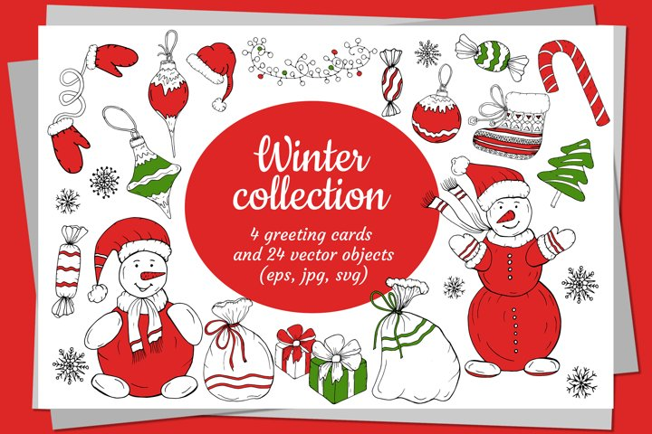 Christmas greeting cards and New Year decorative elements.