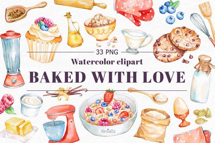 Baking Watercolor Clipart. Kitchen clipart. PNG
