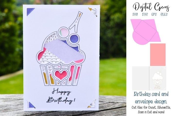 Birthday cupcake card and envelope design SVG / DXF / EPS