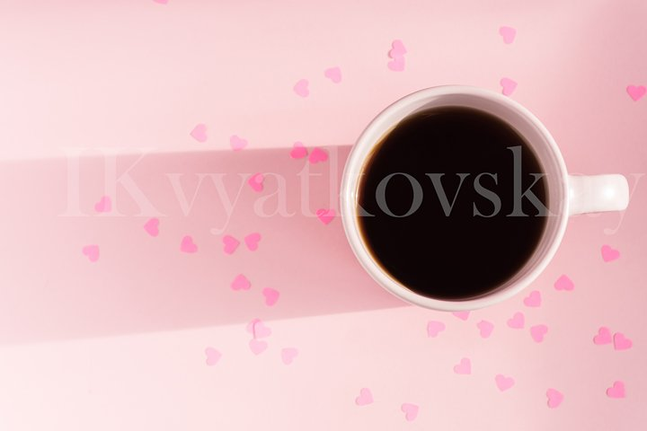 Morning Pink cup of tea on pink background
