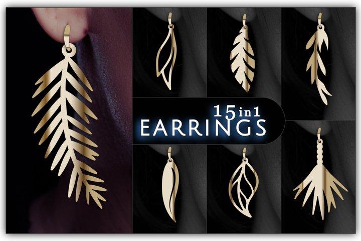 15 Cute earrings,Tropical SVG, Dangle Earrings, Leaf SVG