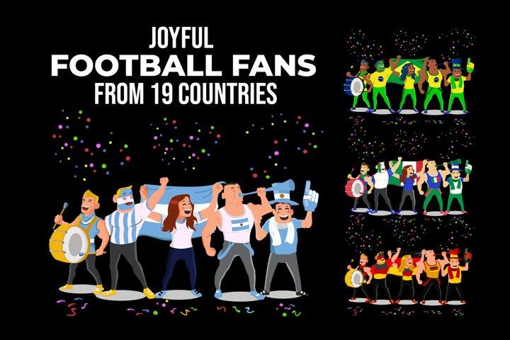 Joyful Football Fans All Over the World