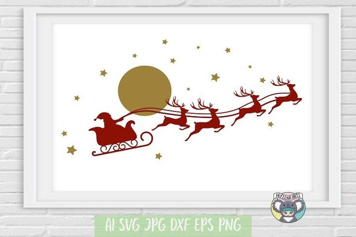 Merry Christmas svg, Santa Sleigh svg, Cricut Cut Files