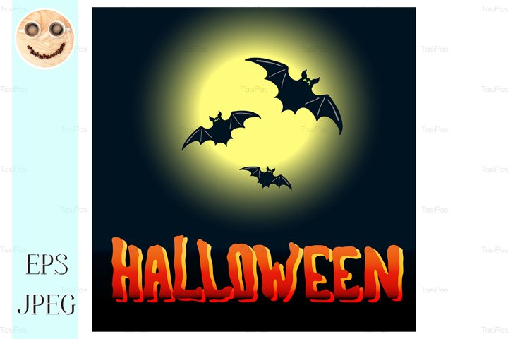 Halloween flyer with flying bats and full moon over midnight