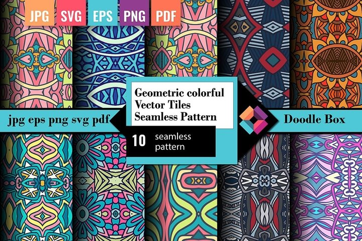 Geometric colorful Vector tiles seamless pattern