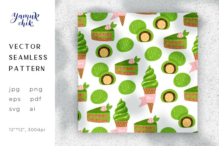 Matcha Green Tea Digital Paper, Dessert seamless pattern png