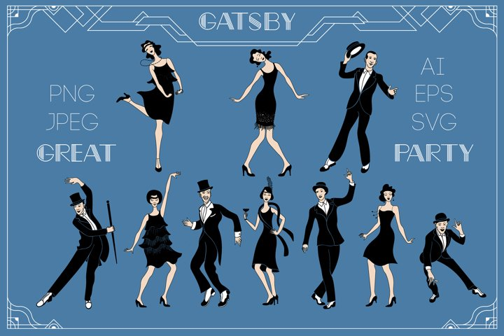 Great Gatsby Party. Charleston dancers.Retro people set.