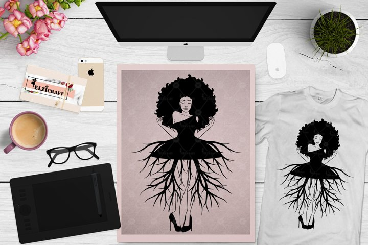 Afro Woman Roots, Africa Map, Black History Month SVG