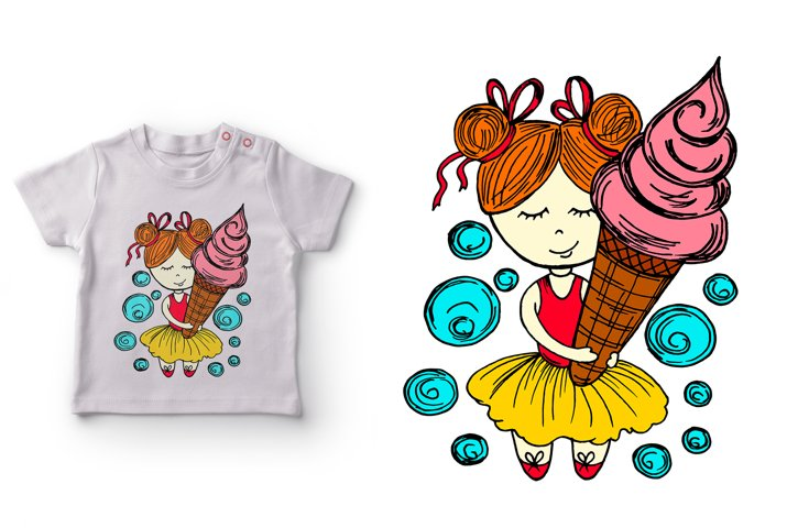 Girl with ice cream. Postcard, flyer, banner, print