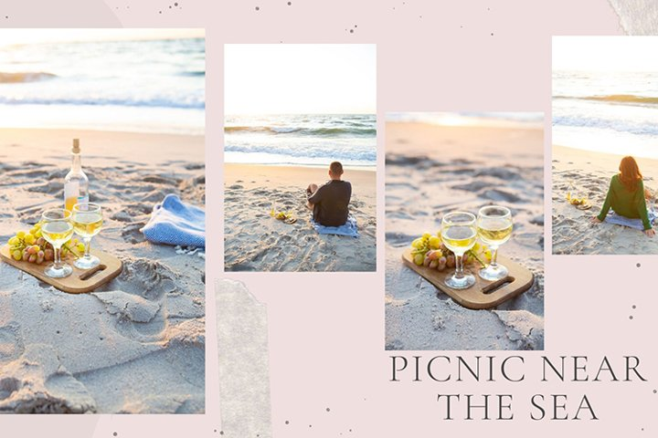 Picnic concept - wine, plaid, glasses, fruits.