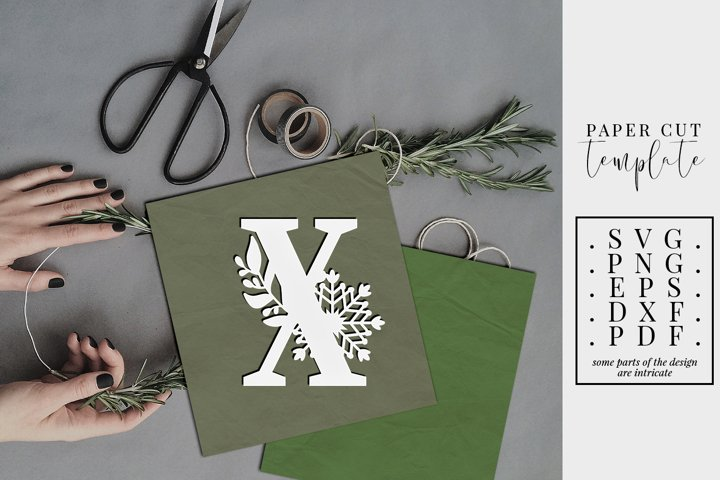 Winter letter X, single initial paper cut, snowflakes SVG