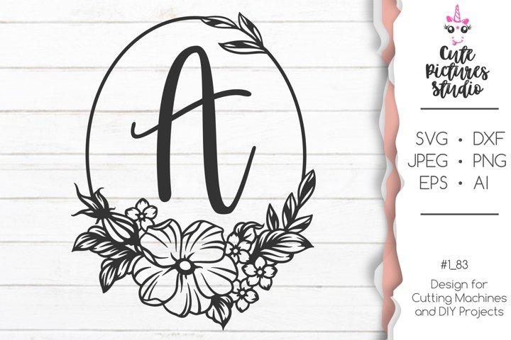 Floral Wedding monogram frame SVG cut file, dxf, eps