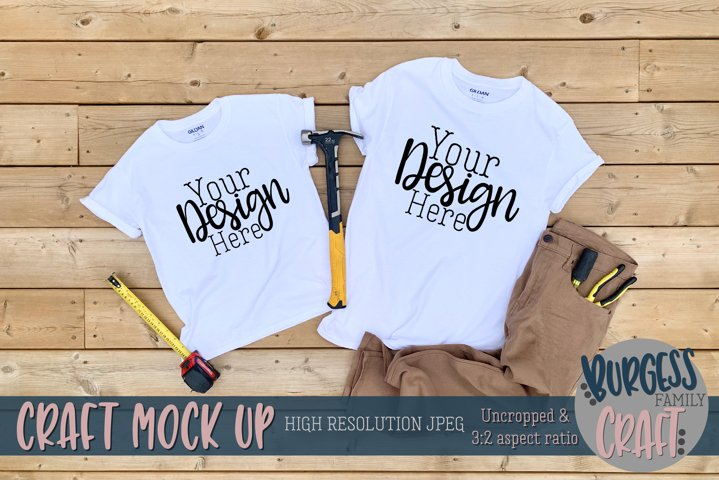 Parent and child white Gildan t-shirt II|Craft mock up