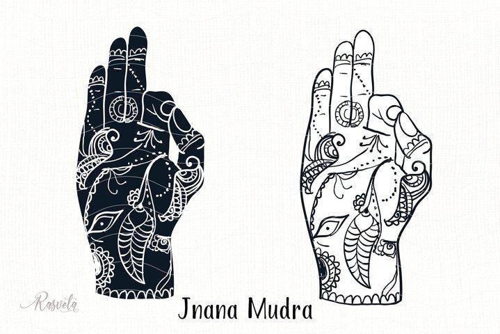 Jnana Mudra Mudra with mehendi pattern