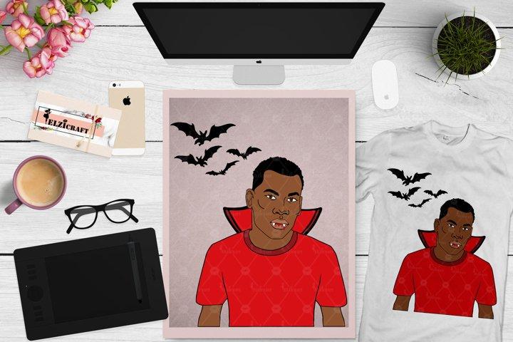 Afro Man, Vampire, Halloween Costume, Afro Halloween SVG
