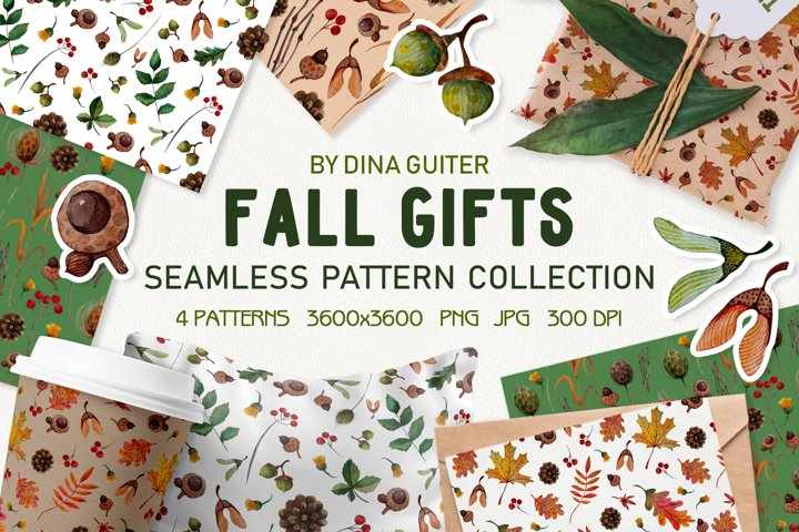 WATERCOLOR AUTUMN SEAMLESS PATTERNS. FALL DIGITAL PAPER PNG