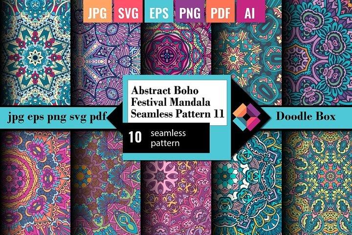 Abstract Boho Festival Mandala Seamless Pattern vol.11
