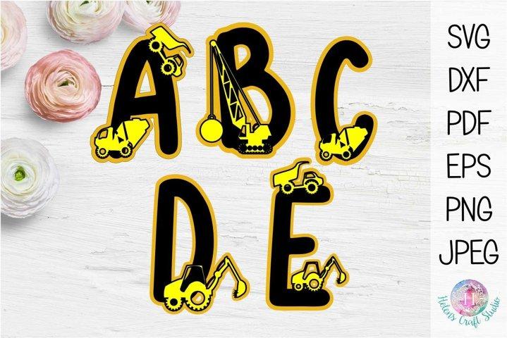 Construction letters A, B, C, D, and E