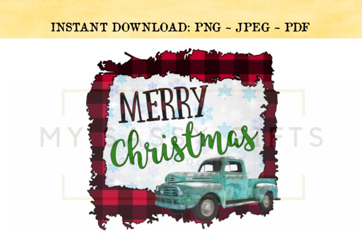 Merry Christmas With Blue Truck on Red Buffalo Plaid Print