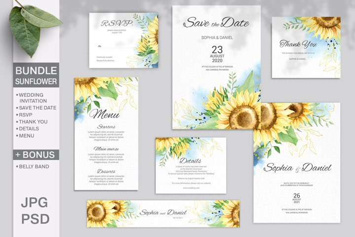 Sunflower Wedding Invitation Bundle. Editable template