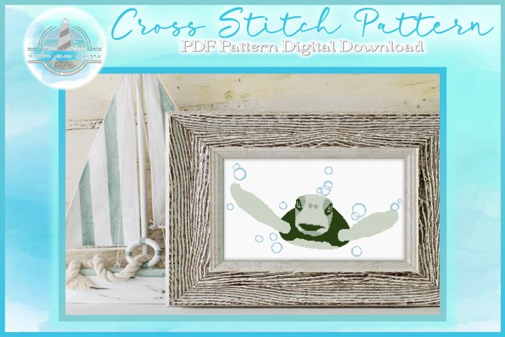 Counted Cross Stitch PDF Pattern | Sea Turtle With Bubbles