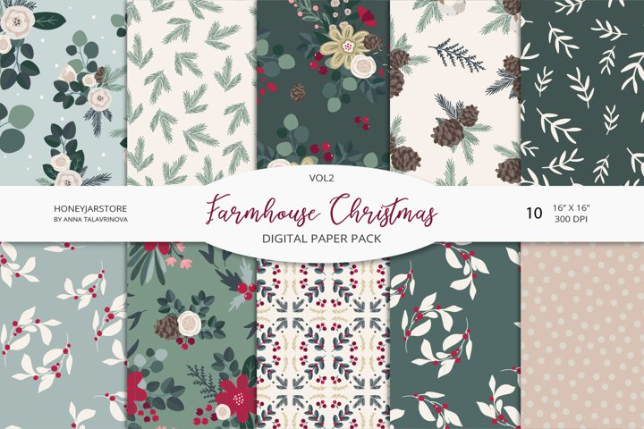 Farmhouse Christmas digital paper pack VOL2