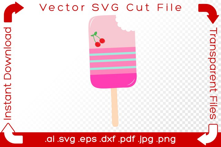 Popsicle SVG with Cherry - Pink Pastel Summer Food Cut File