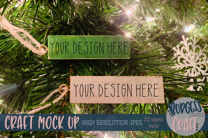 Green & white block ornaments Craft mock up |High Res JPEG