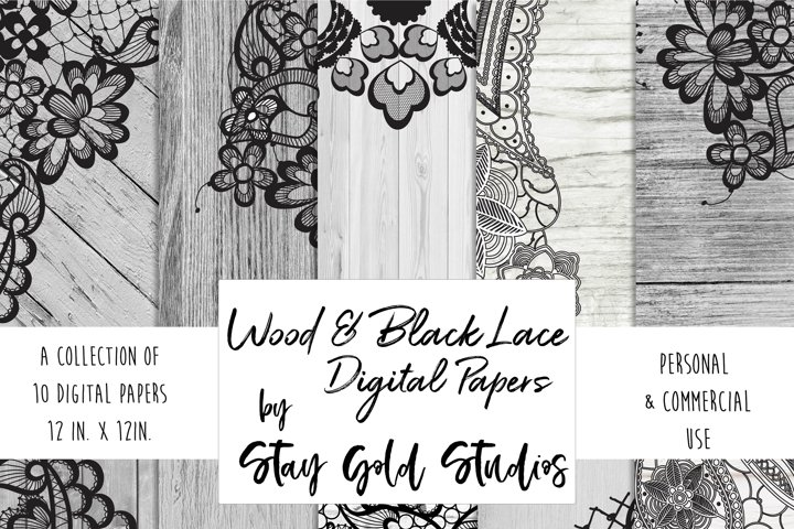Wood & Black Lace Digital Papers