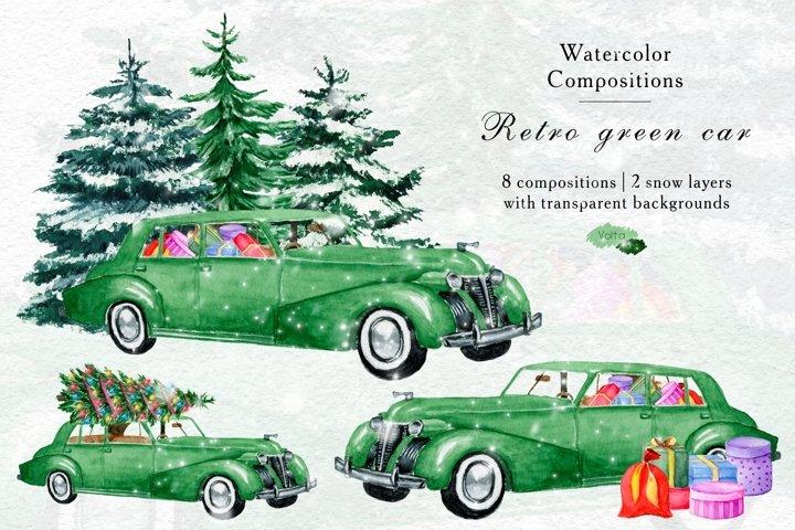Watercolor Green Retro Pickup , PNG Vintage Christmas car