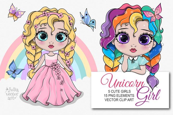 My Unicorn Girl - vector clipart set