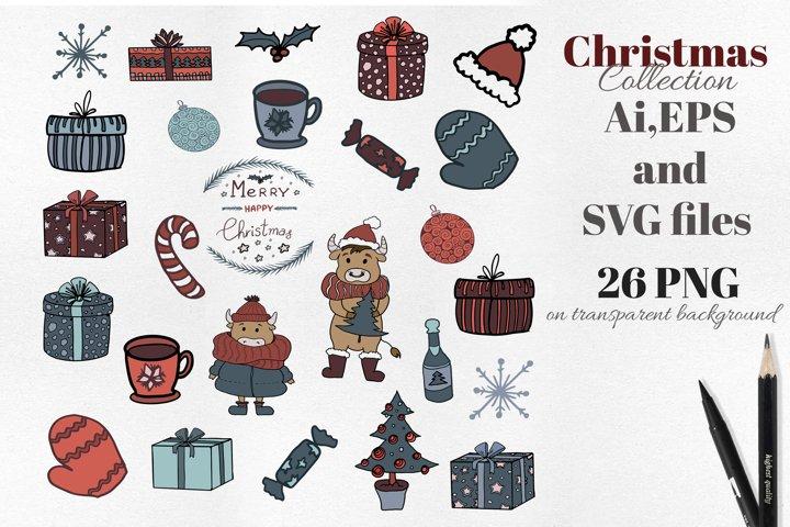 Scandinavian Christmas set. Vector flat New Year clipart. example 1