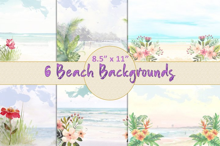 Watercolour Beach Backgrounds and Clipart JPEG PNG