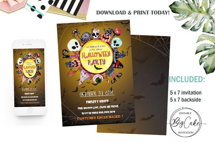 Halloween invitation, Party Halloween, 31 October, download