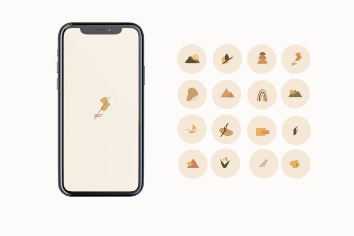 Rose gold plant Instagram story highlight icons