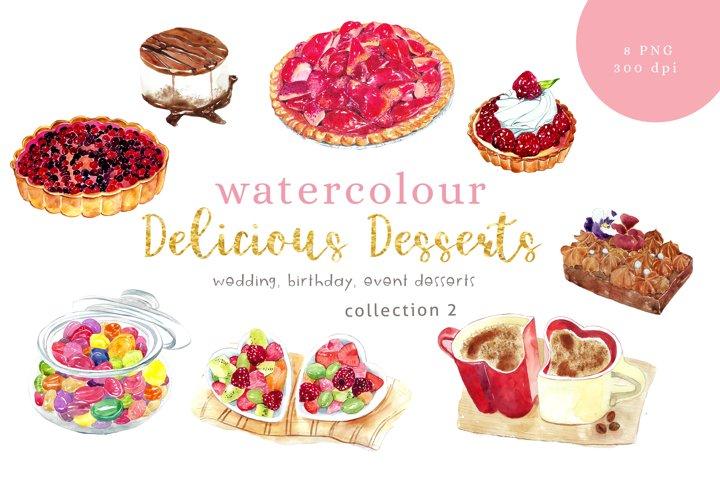 Watercolour clipart, Desserts illustration, Collection 2