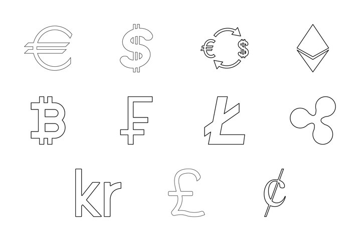 Money symbol black color set outline style vector