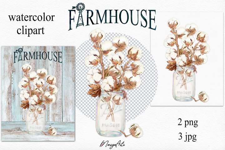 Farmhouse Cotton Stems in Mason Jar, Watercolor Clipart