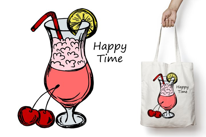 Happy time. Cocktail with cherry