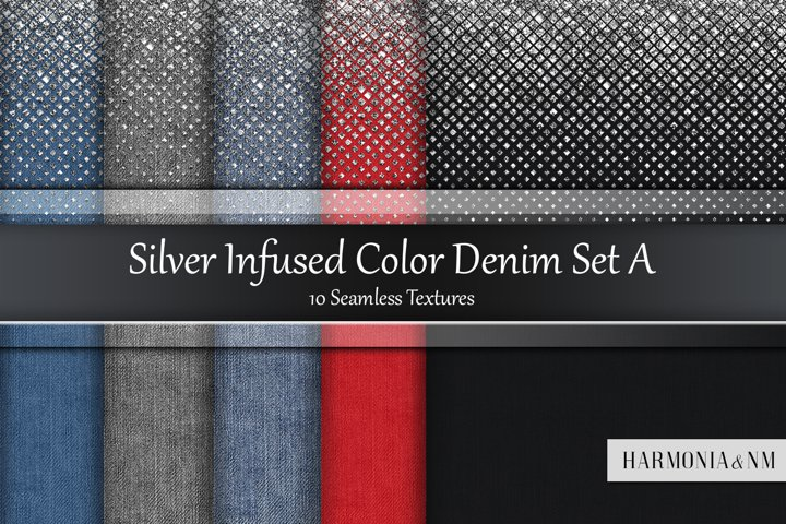 Silver Infused Color Denim Set A 10 Seamless Textures